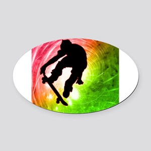 Skateboarder in a Psychedelic Cycl Oval Car Magnet
