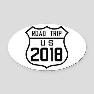 Road Trip US 2018 Oval Car Magnet