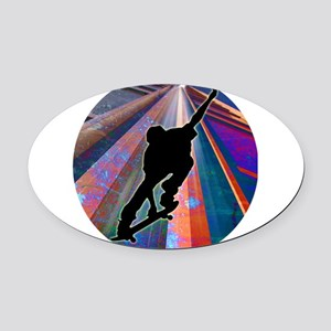 Skateboard on a Building Ray Oval Car Magnet