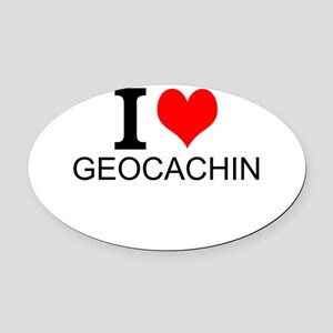 I Love Geocaching Oval Car Magnet