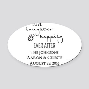 Love Laughter and Happily Ever After Oval Car Magn