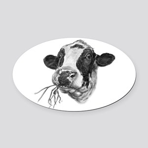 Happy Holstein Friesian Dairy Cow Oval Car Magnet