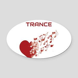 I am Trance Heart Oval Car Magnet