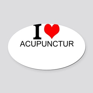I Love Acupuncture Oval Car Magnet