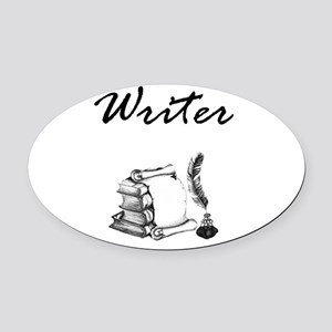 Writer Books and Quill Oval Car Magnet