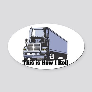tractor trailer Oval Car Magnet