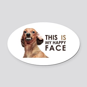 Happy Face Dachshund Oval Car Magnet