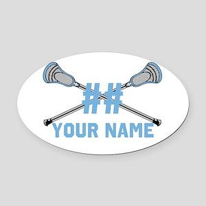 Personalized Crossed Lacrosse Sticks CBlue Oval Ca