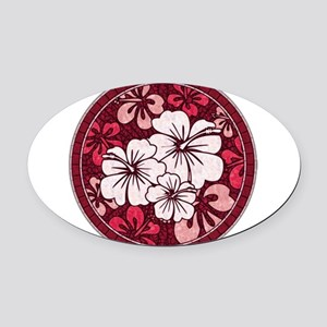 Red Hisbiscus Oval Car Magnet
