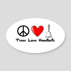 Peace, Love, Handbells Oval Car Magnet