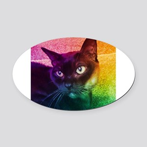 Burmese Cat Portrait B Oval Car Magnet