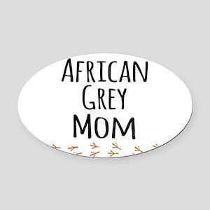 African Grey Mom Oval Car Magnet