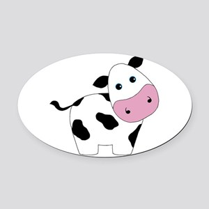Cute Black and White Cow Oval Car Magnet