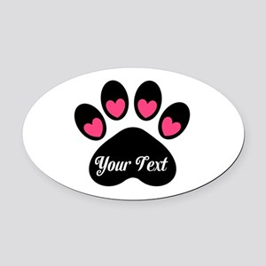Personalizable Paw Print Pink Oval Car Magnet