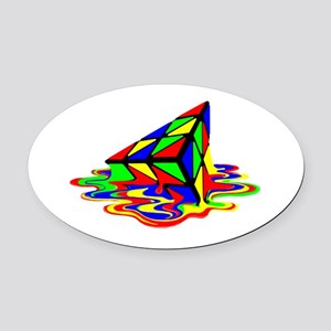 Pyraminx cude painting01B Oval Car Magnet