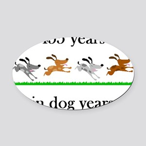 65 dog years birthday 1 Oval Car Magnet