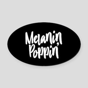 Melanin Poppin Oval Car Magnet
