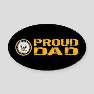 U.S. Navy: Proud Dad (Black) Oval Car Magnet