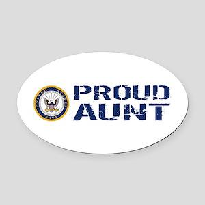 U.S. Navy: Proud Aunt (Blue & Whit Oval Car Magnet