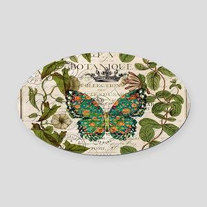 vintage botanical art butterfly Oval Car Magnet