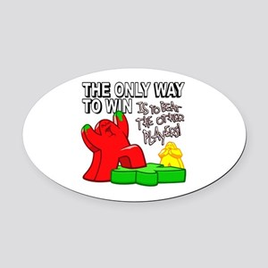 The Only Way to Win Oval Car Magnet