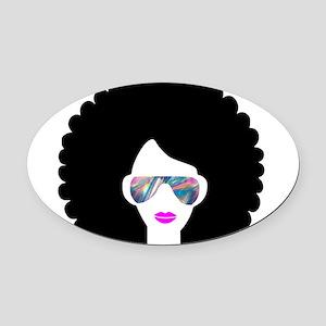 hologram afro girl Oval Car Magnet