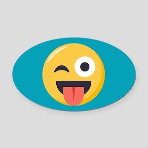 Winky Tongue Emoji Oval Car Magnet