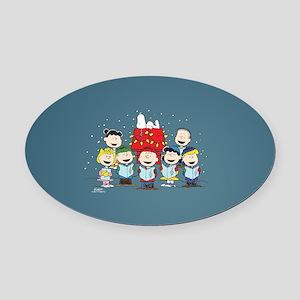 Peanuts Gang Christmas Oval Car Magnet
