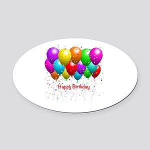 Happy Birthday Balloons Oval Car Magnet