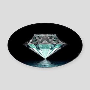 Aqua Diamond Oval Car Magnet