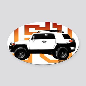fj cruiser red-orange Oval Car Magnet