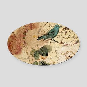 teal bird vintage roses botanical Oval Car Magnet
