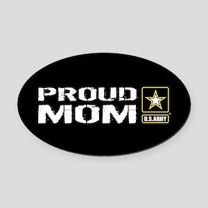 U.S. Army: Proud Mom (Black) Oval Car Magnet