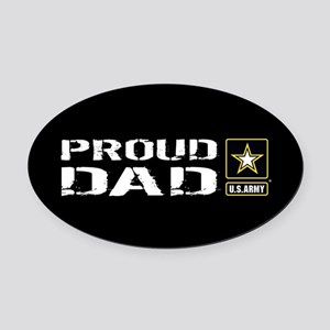 U.S. Army: Proud Dad (Black) Oval Car Magnet