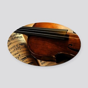 Violin On Music Sheet Oval Car Magnet