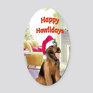 2-airedale card Oval Car Magnet