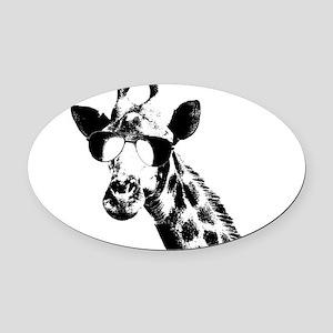 The Shady Giraffe Oval Car Magnet