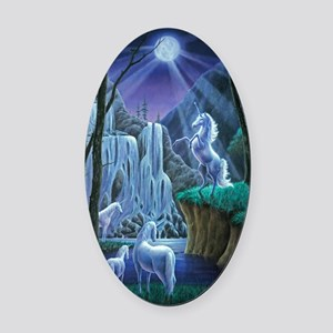 Unicorns in the Moonlight large po Oval Car Magnet