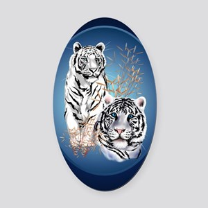 Two White Tigers Oval LargePoster Oval Car Magnet