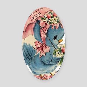 Vintage Easter Blue Bird Bonnet Oval Car Magnet