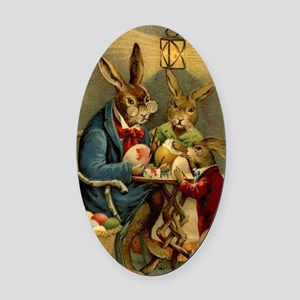 Easter rabbits painting eggs 2 Oval Car Magnet