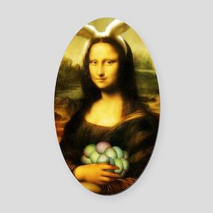 Mona Lisa, The Easter Bunny Oval Car Magnet