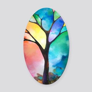 Tree of Light by Sally Trace Oval Car Magnet