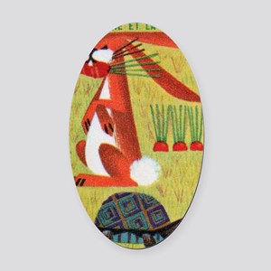 Vintage The Tortoise and the Hare  Oval Car Magnet