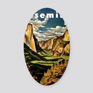 Vintage Yosemite Travel Oval Car Magnet