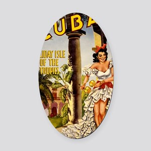 Vintage Cuba Tropics Travel Oval Car Magnet