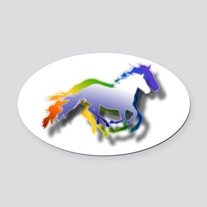 3D Running Horses Oval Car Magnet
