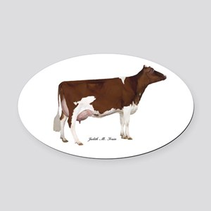 Red and White Holstein Cow Oval Car Magnet