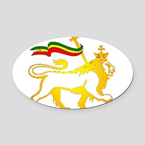 KING OF KINGZ LION Oval Car Magnet