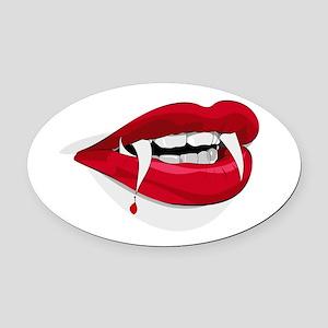 Halloween Vampire Teeth Oval Car Magnet